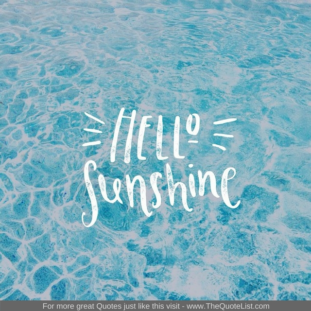 """Hello Sunshine"" - Unknown Author"