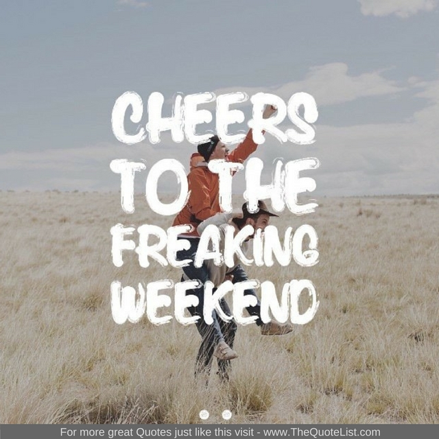 """""""Cheers to the freaking weekend"""" - Unknown Author"""