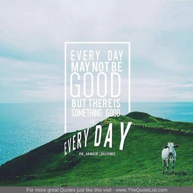 """""""Every day may not be good but there is something good in every day"""""""