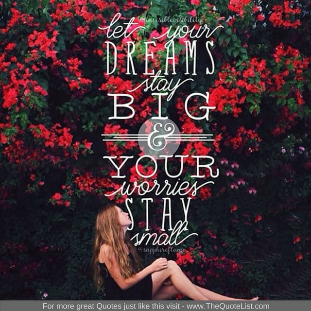 """Let your dreams stay big and your worries stay small"""