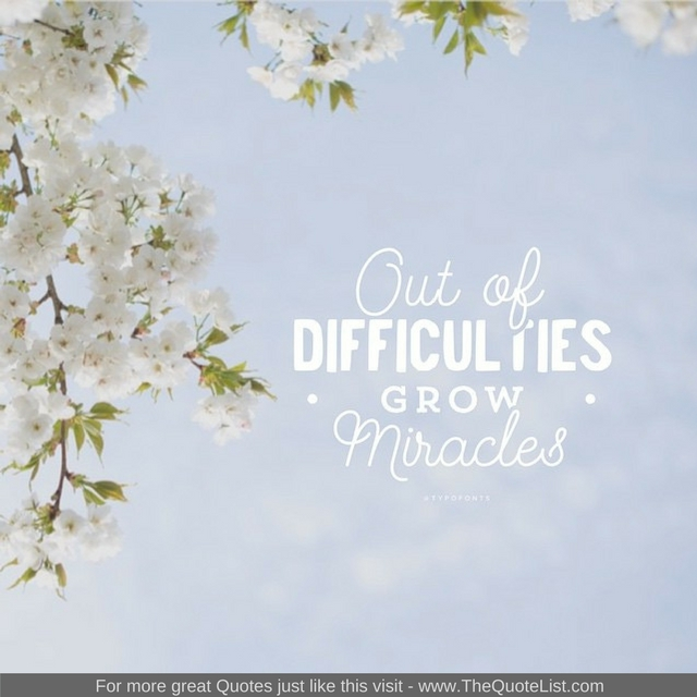 """Out of difficulties grow miracles"""