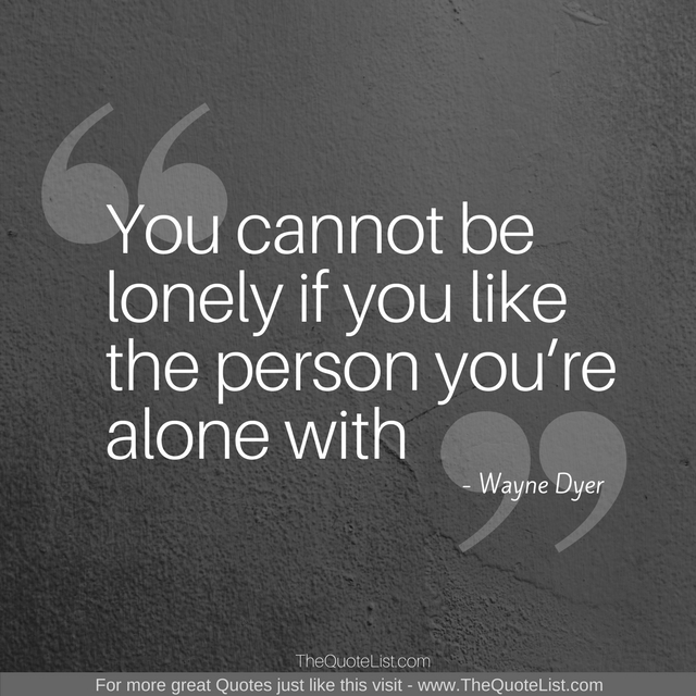"""You cannot be lonely if you like the person you're alone with"" by Wayne Dyer"