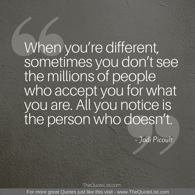 """When you're different, sometimes you don't see the millions of people who accept you for what you are. All you notice is the person who doesn't."" by Jodi Picoult"