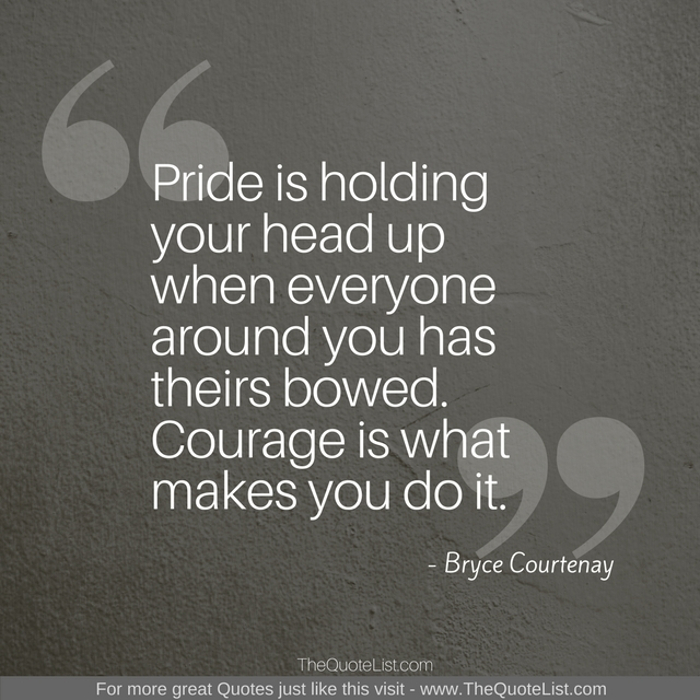 """Pride is holding your head up when everyone around you has theirs bowed. Courage is what makes you do it."" by Bryce Courtenay"