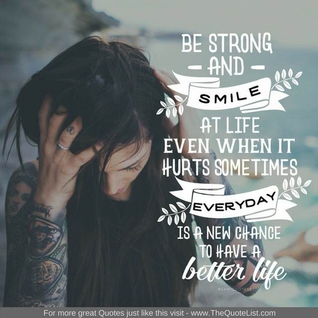 """Be strong and smile at life even when it hurts sometimes. Everyday is a new chance to have a better life"""