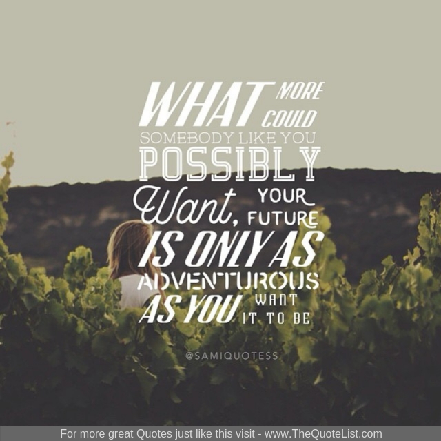 """What more could somebody like you possibly want, your future is only as adventurous as you want it to be"""