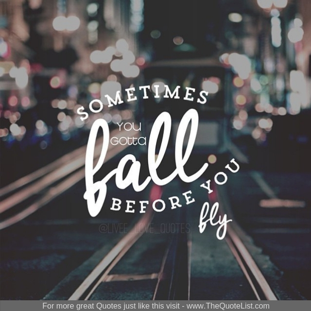 """Sometimes you gotta fall before you fly"""