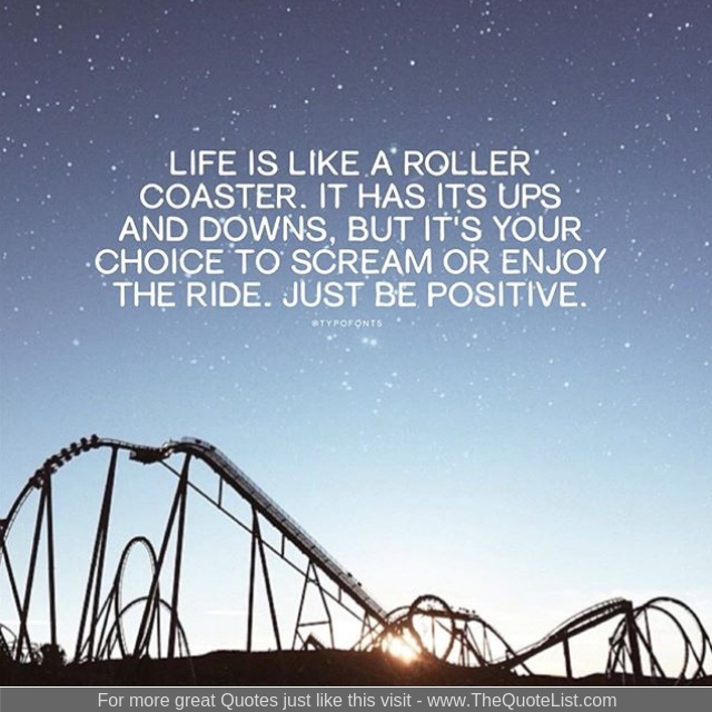 """Life is like a roller coaster. It has it's up's and down's but it's your choice to scream or enjoy the ride. Just be positive"""